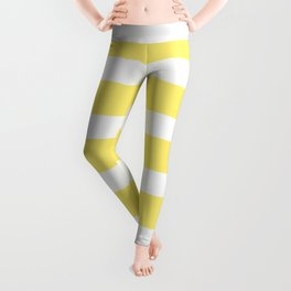 Yellow Buttercup Stripes on White Background Leggings