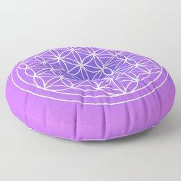 Flower of Life Mandala Purple Blue Floor Pillow
