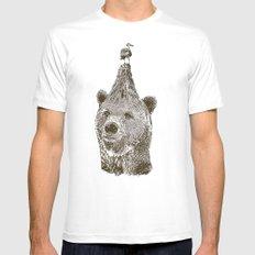 Bear MEDIUM Mens Fitted Tee White