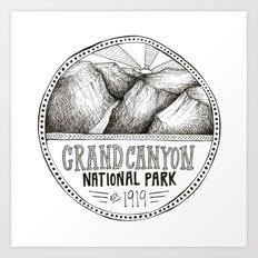 Grand Canyon Black and White Illustration Art Print