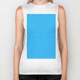 Blue Grid White Line Biker Tank