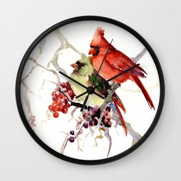 Cardinal Birds, birds art, two bird artwork cardinal bird Wall Clock