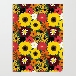 Retro Fall Flowers Poster