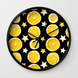A strange combination of orange and stars Wall Clock