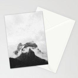 Misty Mountain Peak Black & White Minimalist Landscape Photography Stationery Cards
