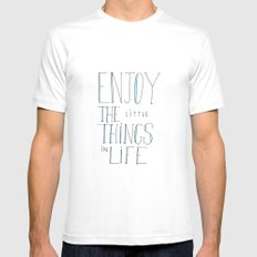 Enjoy the little things in life MEDIUM White Mens Fitted Tee