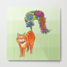 A Cat Sprouting Flowers Metal Print