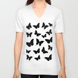 Black and White Butterflies Unisex V-Neck
