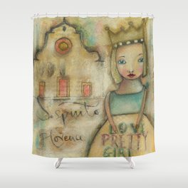 Pretty girl in Santo Spirito Florence Shower Curtain
