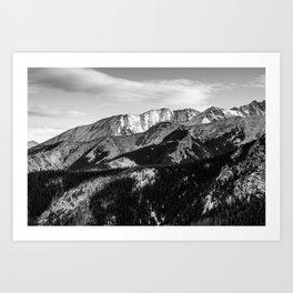 Black and White Mountains Art Print