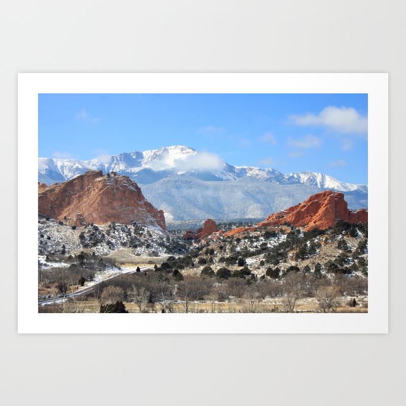 Snow At The Garden Of The Gods Colorado Springs Art Print