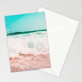 Ocean Waves Teal Pink Stationery Cards