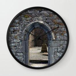 View of Grave Through Door of Irish Ruins v.3 Wall Clock
