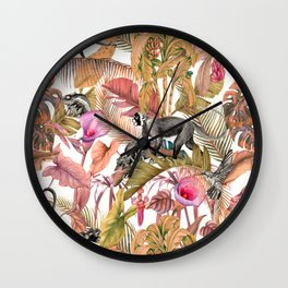 Paradise in the pink jungle II Wall Clock