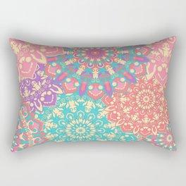 Pretty pink and cyan Mandala pattern Rectangular Pillow