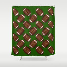 Footballs Design on Green Shower Curtain