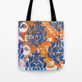 Blue Damask Tote Bag