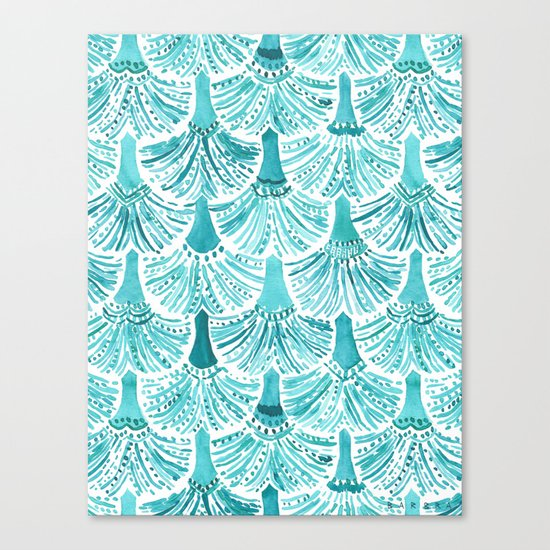 MERMAID TAILS Nautical Scallop Pattern Canvas Print