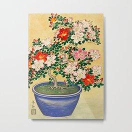 Blossoming Azalea flower in pot - Vintage Japanese Woodblock Print Art Metal Print