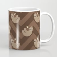 sloths Mugs featuring Sloths on chevrons by Petits Pixels