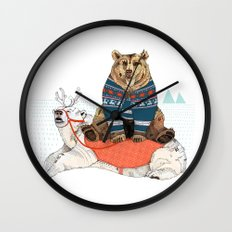Bear Sleigh Wall Clock