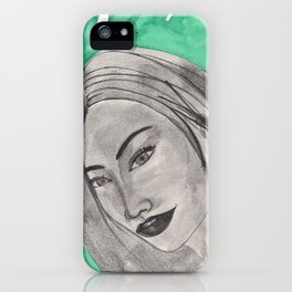 girl infront of a gre bacground iPhone Case