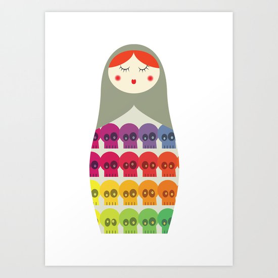 Skullz on doll Art Print