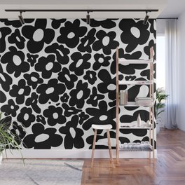 60s 70s Hippie Flowers Black Wall Mural