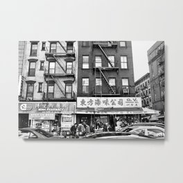 China Town Streets in New York City Metal Print