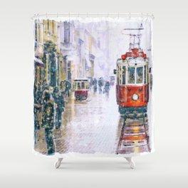 Istanbul Nostalgic Tramway Shower Curtain