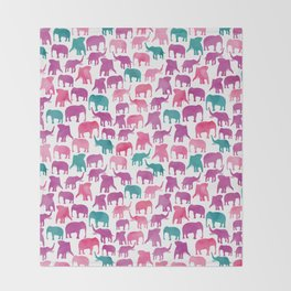Watercolor Elephant Stampede Pretty Pattern Throw Blanket