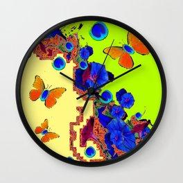 Lime Color Fantasy  Butterflies Peacock Eyes  Art Wall Clock