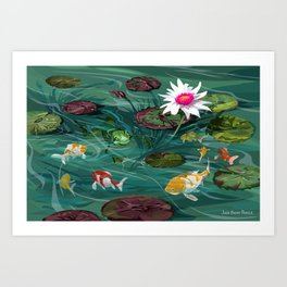 Frog and Koi Friends Art Print