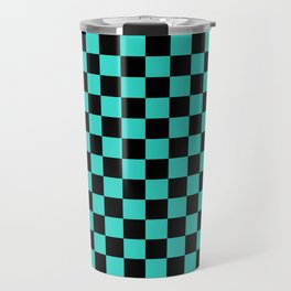 Black and Turquoise Checkerboard Travel Mug