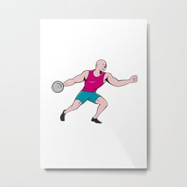 Discus Thrower Side Isolated Cartoon Metal Print