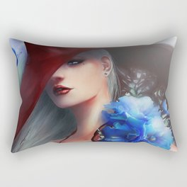Kissed by the light - Blonde girl with hat and blue flowers Rectangular Pillow