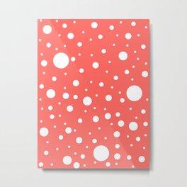 Mixed Polka Dots - White on Pastel Red Metal Print
