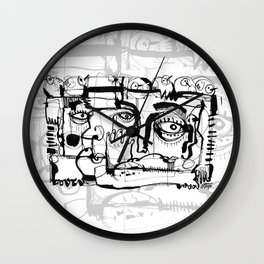 Birds on a Wire - b&w Wall Clock