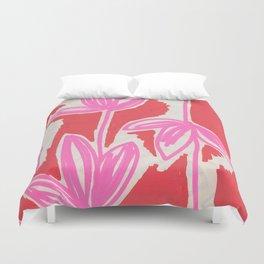 Red and Pink Sketchbook Botanical Duvet Cover