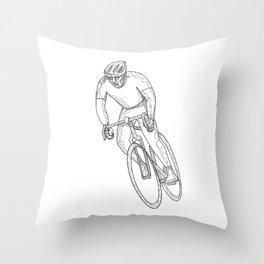 Road Bicycle Racing Doodle Throw Pillow