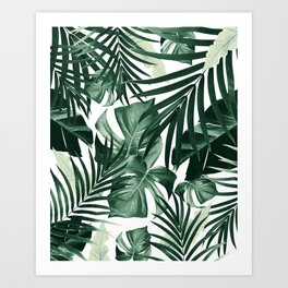 Tropical Jungle Leaves Pattern #4 #tropical #decor #art #society6 Art Print