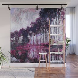 Monet Poplars on the Banks of the River Epte Purple Magenta Wall Mural