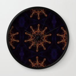 Circular futuristic abstract shapes of golden colors. Images from outside this world. Wall Clock