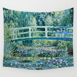 Claude Monet - Water Lilies And Japanese Bridge Wall Tapestry