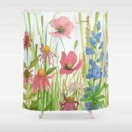 Watercolor Garden Flower Poppies Lupine Coneflower Wildflower Shower Curtain