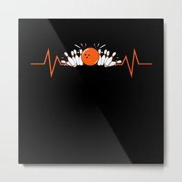 Bowling Strike Heart Rate Kids Motif Metal Print