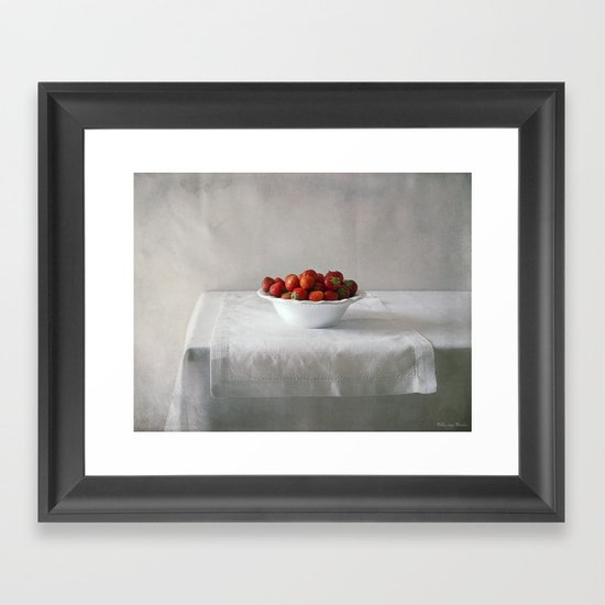 Still life with strawberries. Framed Art Print