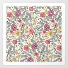 feather fleur watercolor Art Print