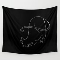hunting Wall Tapestries featuring Hunting Cat by Palas Kumar Ray