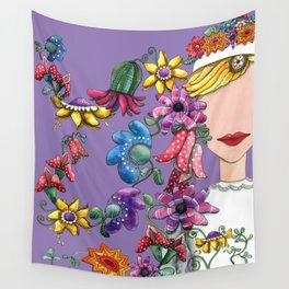 I Love the Flower Girl Lavender Wall Tapestry